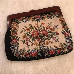 Vintage Woven Floral Frame Cosmetics Bag